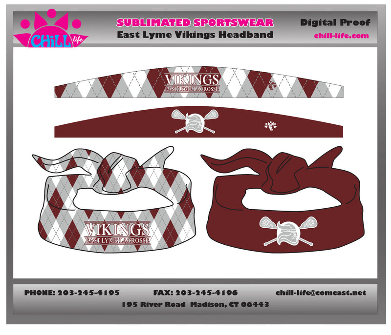 East Lyme Lacrosse reversible tie headband-sublimated