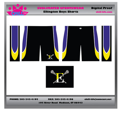 "Ellington Lacrosse Boys 9"" Sublimated Short with Pockets"