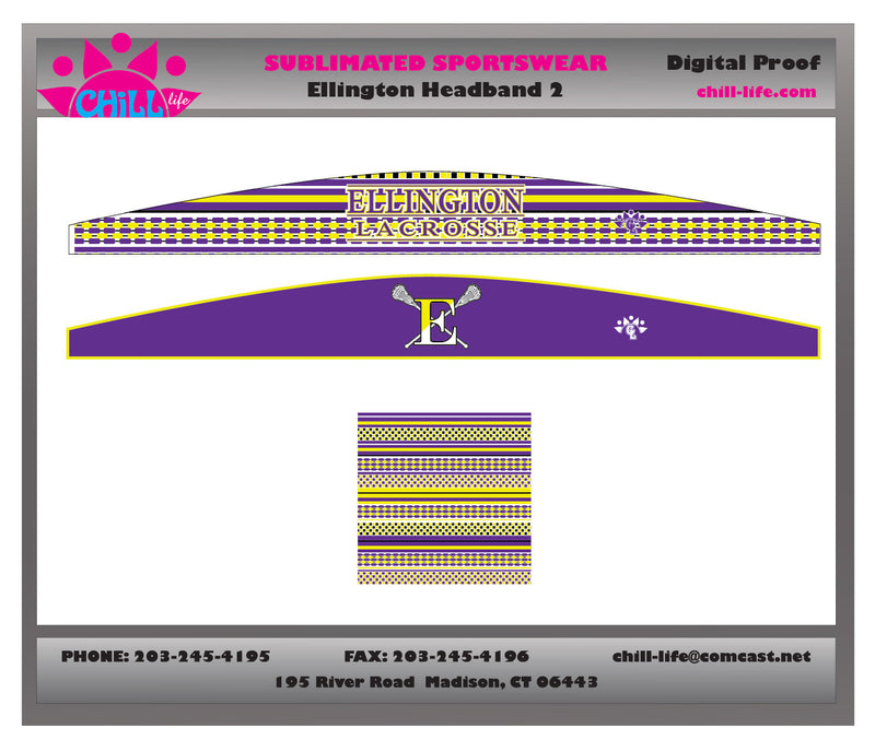 Ellington Lacrosse Closed Headband-reversible/sublimated