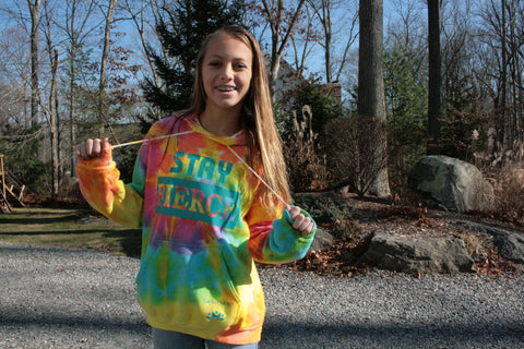 STAY FIERCE-yellow/pink tie-dye hoodie