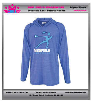 Medfield Girls Lacrosse Long Sleeve Performance Polaris Hoodie-UNISEZ sizing