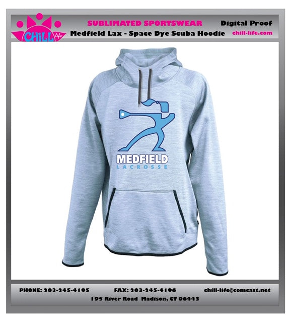 Medfield Girls Lacrosse Scuba Space Dye Hoodie-Women's Fit