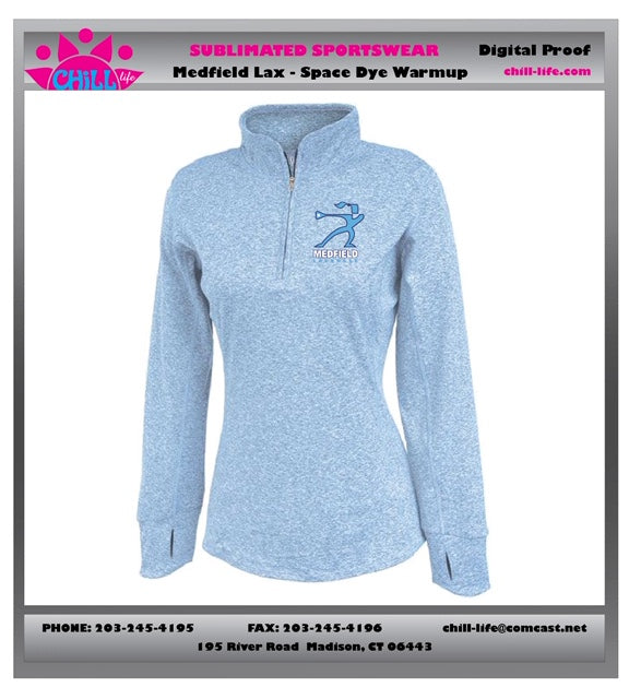 Medfield Girls Lacrosse SPACE DYE 1/4 ZIP WARM UP-Women's Fit