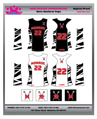 Monroe GIRLS Lacrosse racerback reversible GAME Jersey