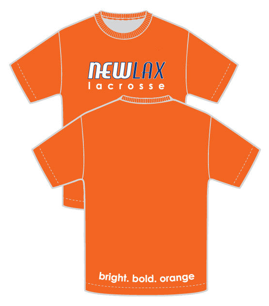 NewLax uni-sex tee shirt-ORANGE & PROUD