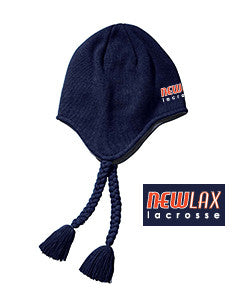New Lax Navy Knit Hat with Flaps