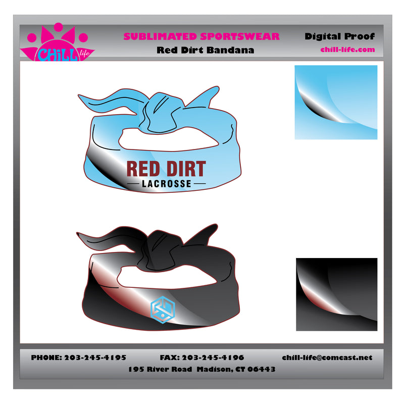 Red Dirt Lacrosse Open style tied Headband