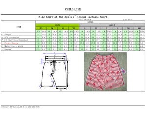 CHILL-LIFE BOYS LACROSSE GAME SHORTS SIZE CHART