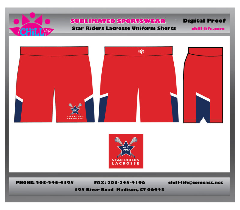 Star Riders Lacrosse uniform shorts