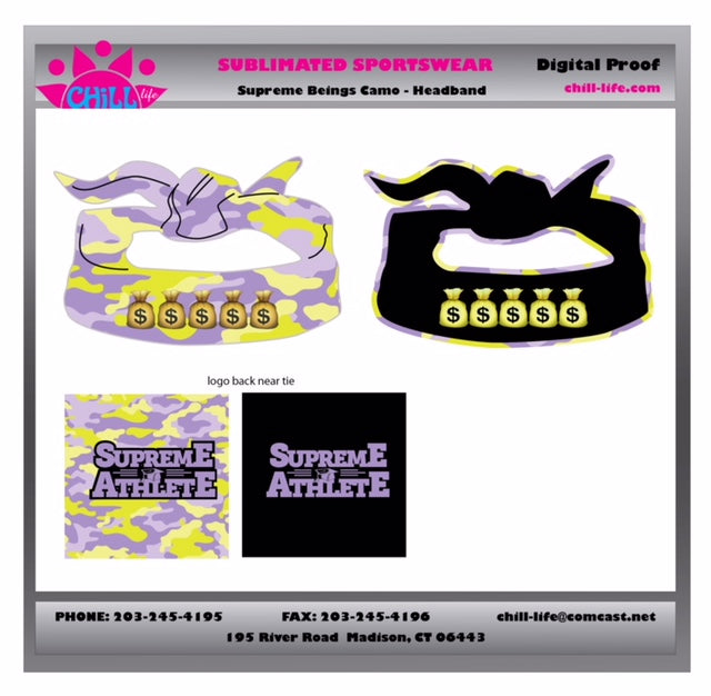 Supreme Athlete Purple/Lime Camo Sublimated Reversible Flex Tie Headband