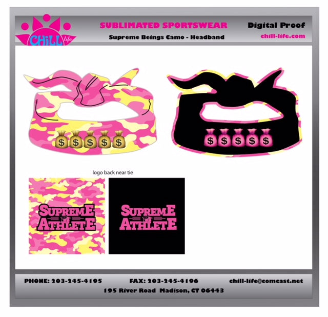 Supreme Athlete Pink/Yellow Camo Sublimated Reversible Flex Tie Headband