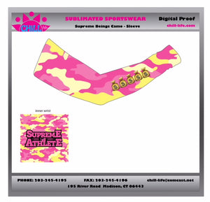 Supreme Athlete Pink/Yellow Camo Sublimated Flex Arm Sleeve