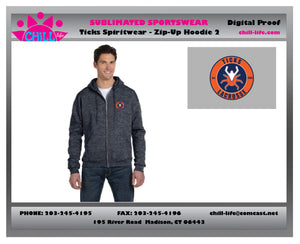TICKS FULL ZIP CHAMPION BRANDED HOODIE-CIRCLE GRAPHIC