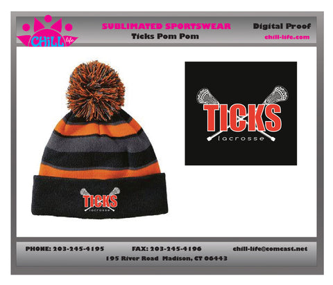 Ticks Lacrosse Knit Pom Pom Hat