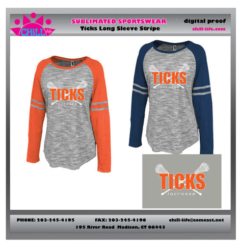 Ladies/Girls Long Sleeve Striped Crew