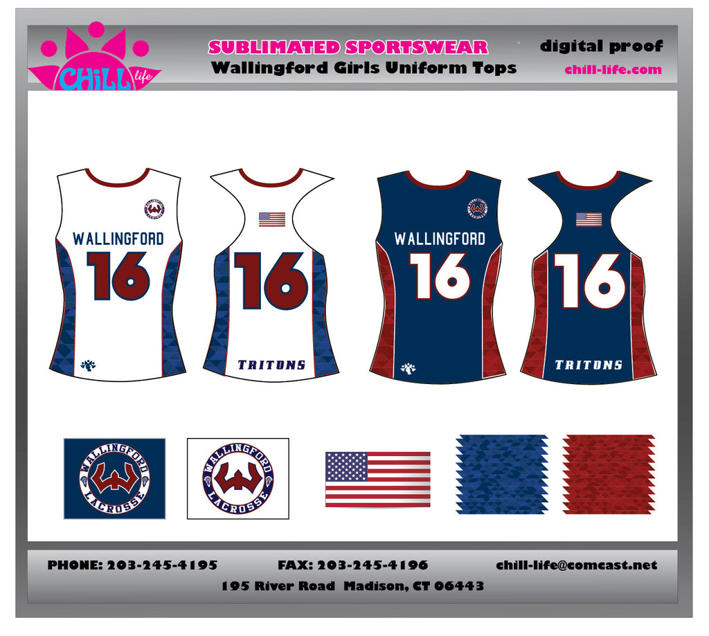 Wallingford Girls Racerback Reversible Uniform Top