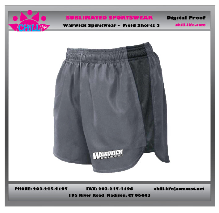 Warwick Warriors Basketball Girls Shorts with Warwick Youth Basketball print