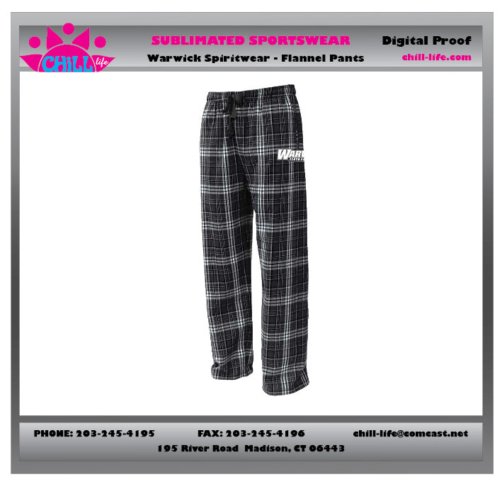 Warwick Warriors Basketball Flannel PJS with WARWICK  BASKETBALL PRINT