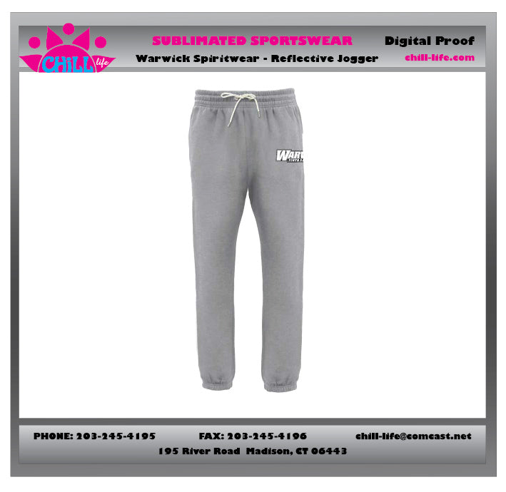 Warwick Warriors  Basketball Joggers-gray WITH WARWICK BASKETBALL PRINT