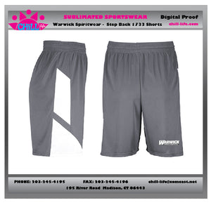Warwick Warriors  Basketball Step Back Shorts with Warwick Basketball print