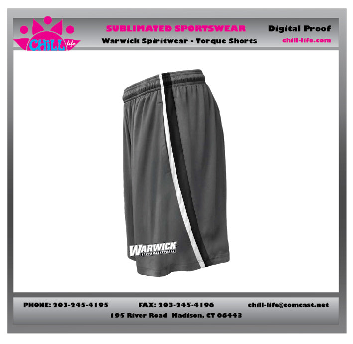 Warwick Warriors Basketball Torque Shorts with Warwick Basketball print