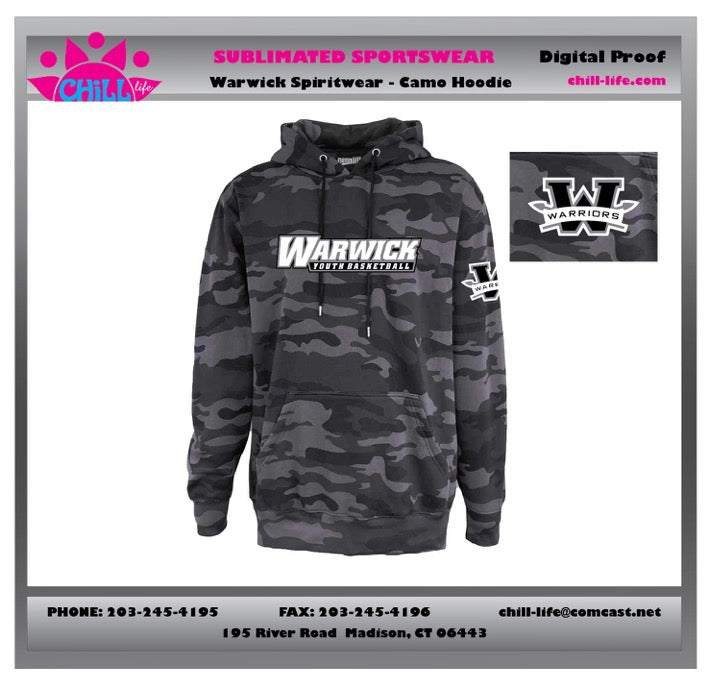 Warwick Warriors Basketball Black Camo Hoodie