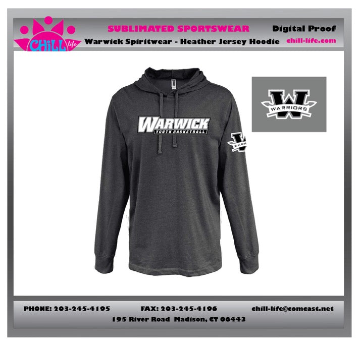 Warwick Warriors Basketball -HEATHER JERSEY HOODIE-BLACK