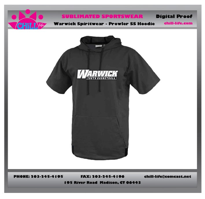 Warwick Warriors Basketball Prowler SS Hoodie-BLACK with Warwick Youth Basketball Print