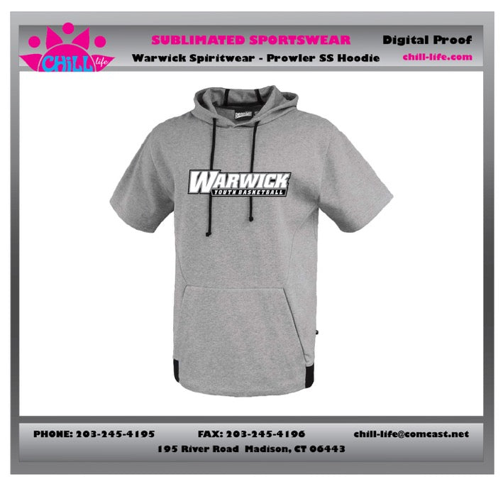 Warwick Warriors Basketball Prowler SS Hoodie-Gray with Warwick Youth Basketball Print
