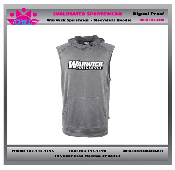 Warwick Warriors Basketball Sleeveless Hoodie-Gray