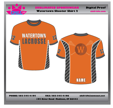 BUNDLED 3 PC SET-Watertown Lacrosse Boys Sublimated Shooter Shirt for Under Game Uniform