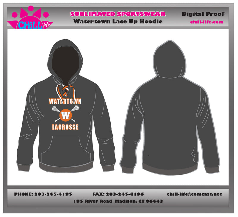 Watertown Lacrosse Lace Up Hoodie
