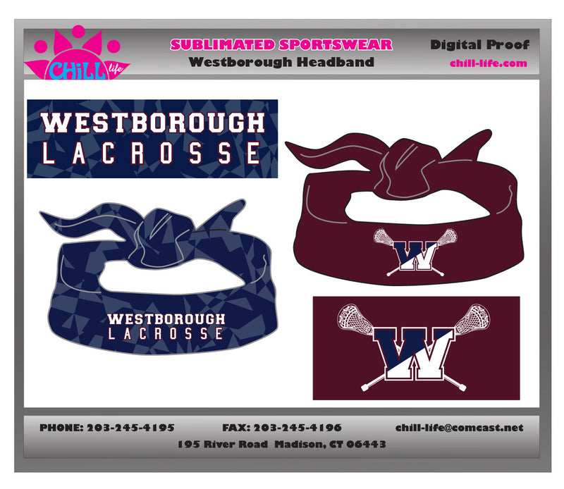 Westborough Lacrosse Reversible Tie Headband