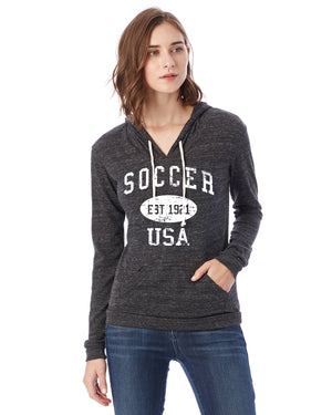 Soccer Eco Jersey Pullover Hoodie-Vintage Distressed Established Date USA