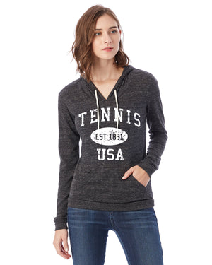 Tennis Eco Jersey Pullover Hoodie-Vintage Distressed Established Date USA