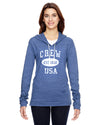 Crew Eco Jersey Pullover Hoodie-Vintage Distressed Established Date USA