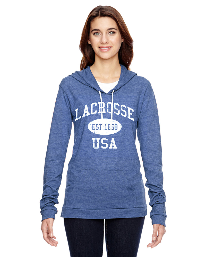 Lacrosse Eco Jersey Pullover Hoodie-Vintage Distressed Established Date USA