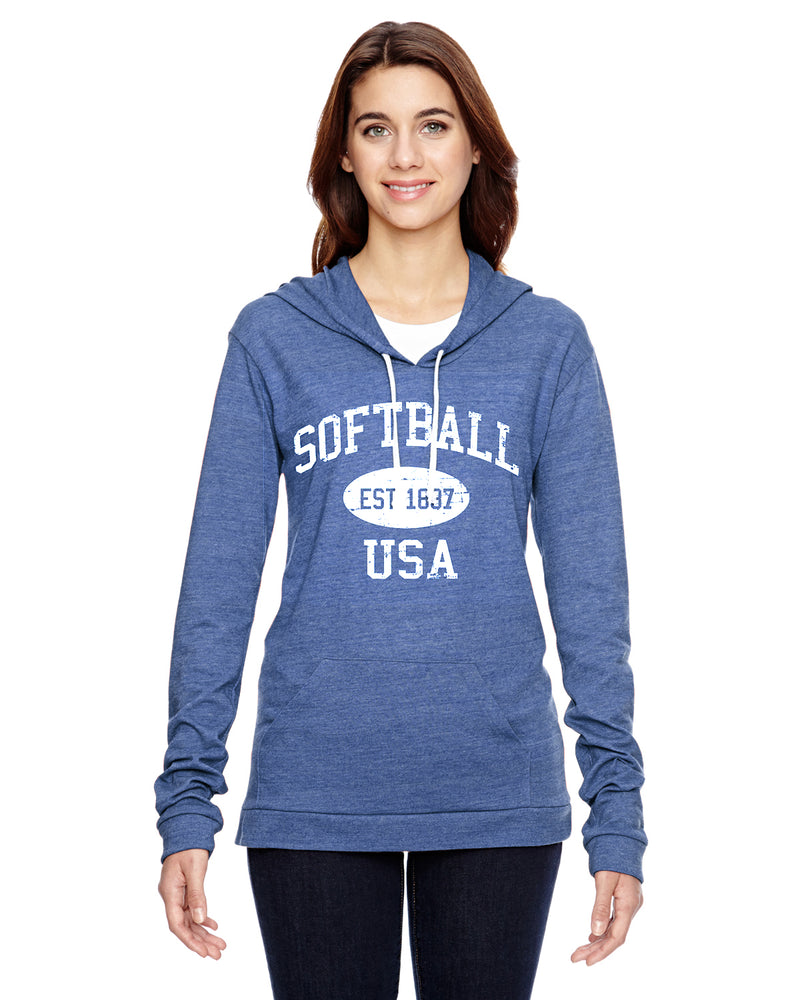 Softball Eco Jersey Pullover Hoodie-Vintage Distressed Established Date USA