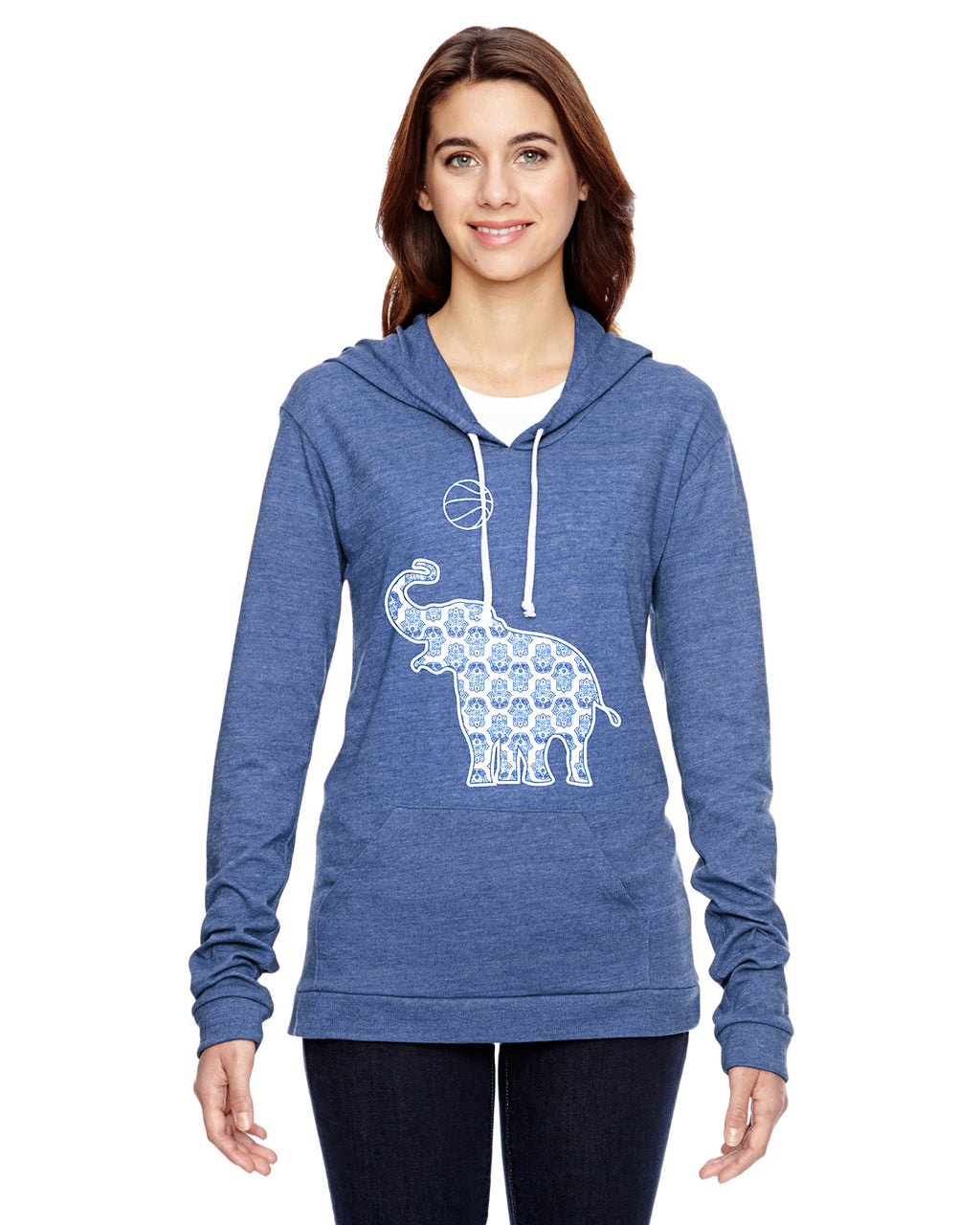 Elephant with Basketball Eco Jersey Pullover Hoodie Animal Sports Collection