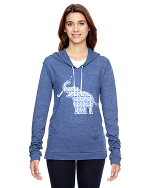 Elephant with Field Hockey Stick Field Hockey Eco Jersey Pullover Hoodie Animal Sports Collection
