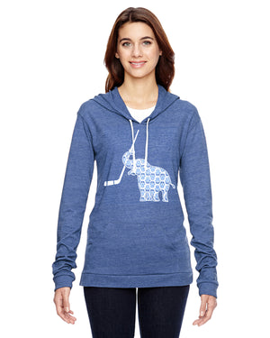 Elephant with Hockey Stick Hockey Eco Jersey Pullover Hoodie Animal Sports Collection