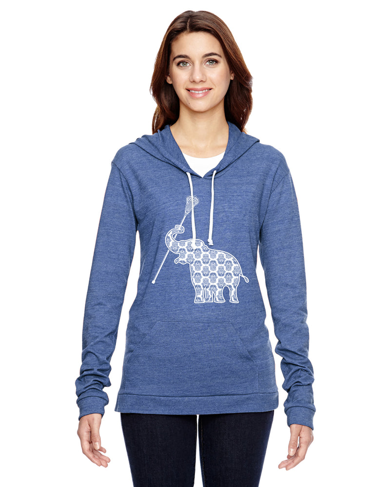 Elephant with Lacrosse Stick Lacrosse Eco Jersey Pullover Hoodie Animal Sports Collection