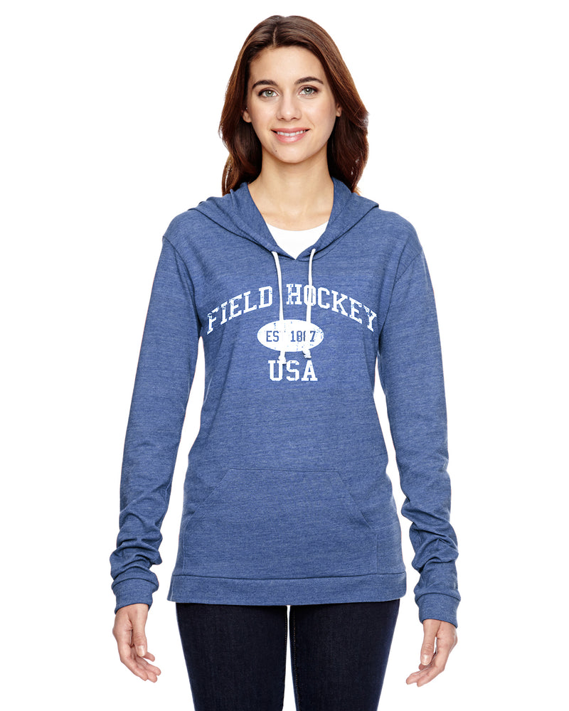 Field Hockey Eco Jersey Pullover Hoodie-Vintage Distressed Established Date USA