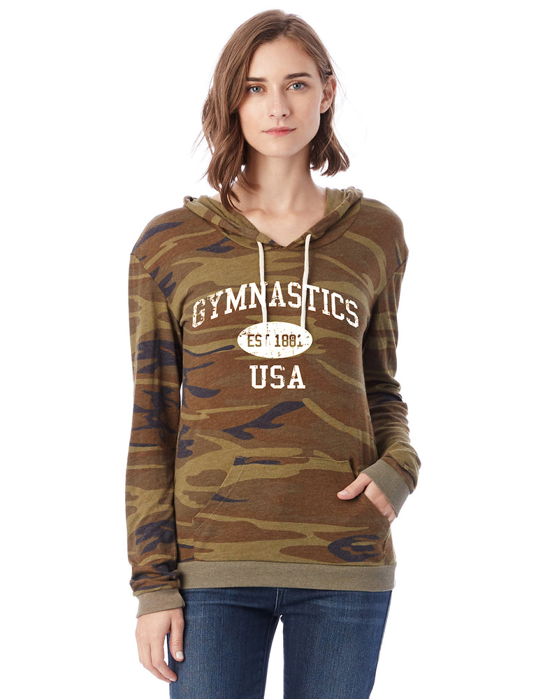 Gymnastics  Eco Jersey Pullover Hoodie-Vintage Distressed Established Date USA