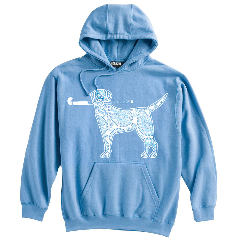 Dog with Field Hockey Stick Field Hockey Heavyweight Cotton Hoodie