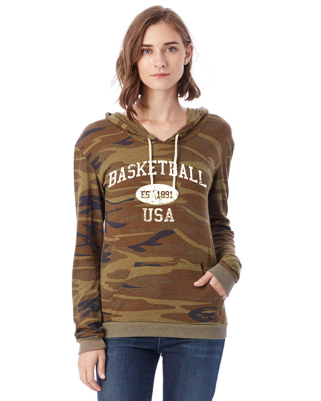 Basketball Eco Jersey Pullover Hoodie-Vintage Distressed Established Date USA