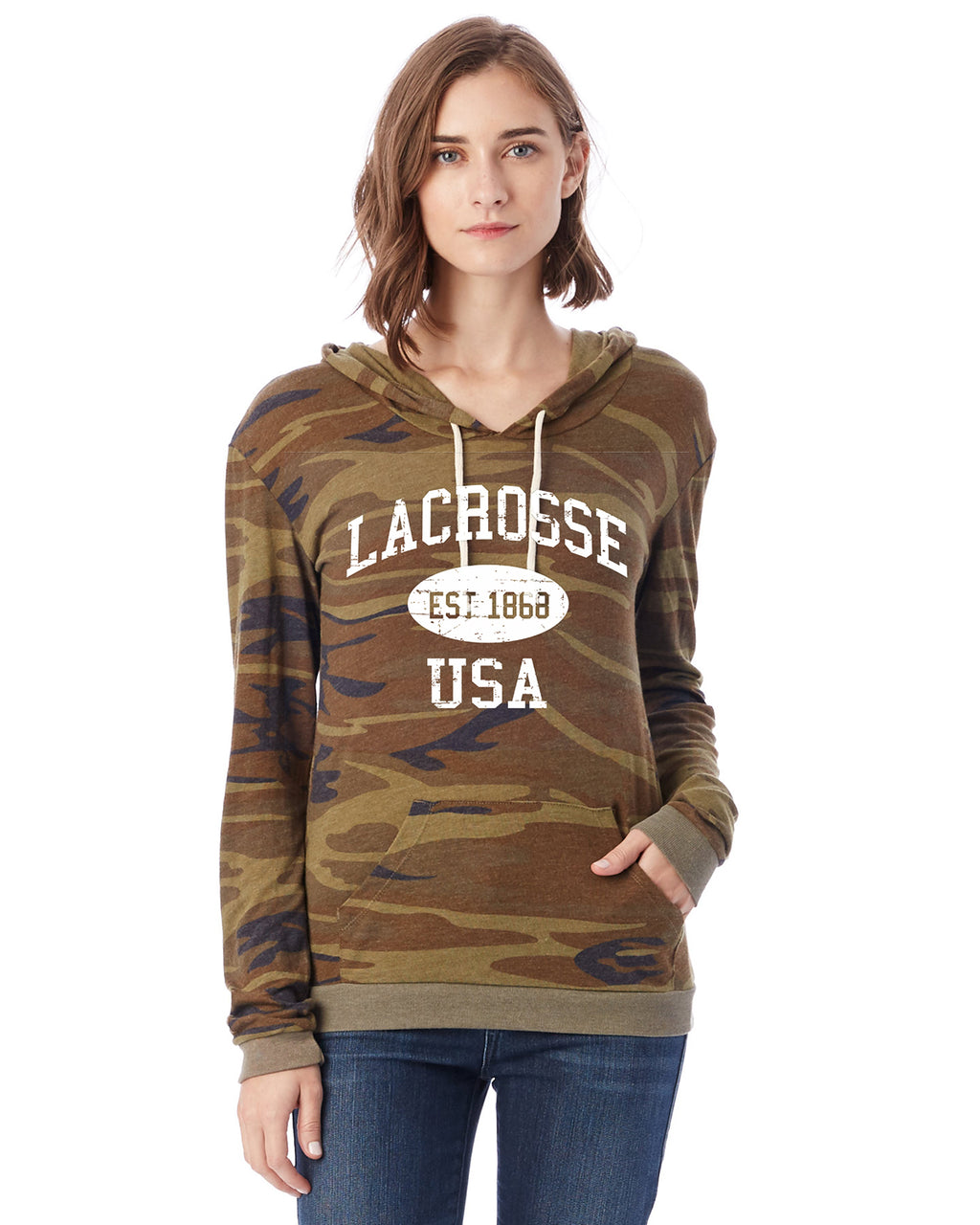 9ebd5ec9 Lacrosse Eco Jersey Pullover Hoodie-Vintage Distressed Established Date USA