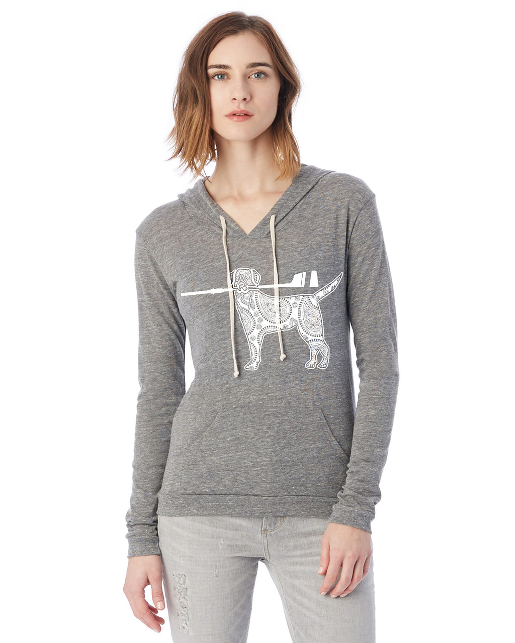 Dog with Oar Crew Eco Jersey Pullover Hoodie Animal Sports Collection