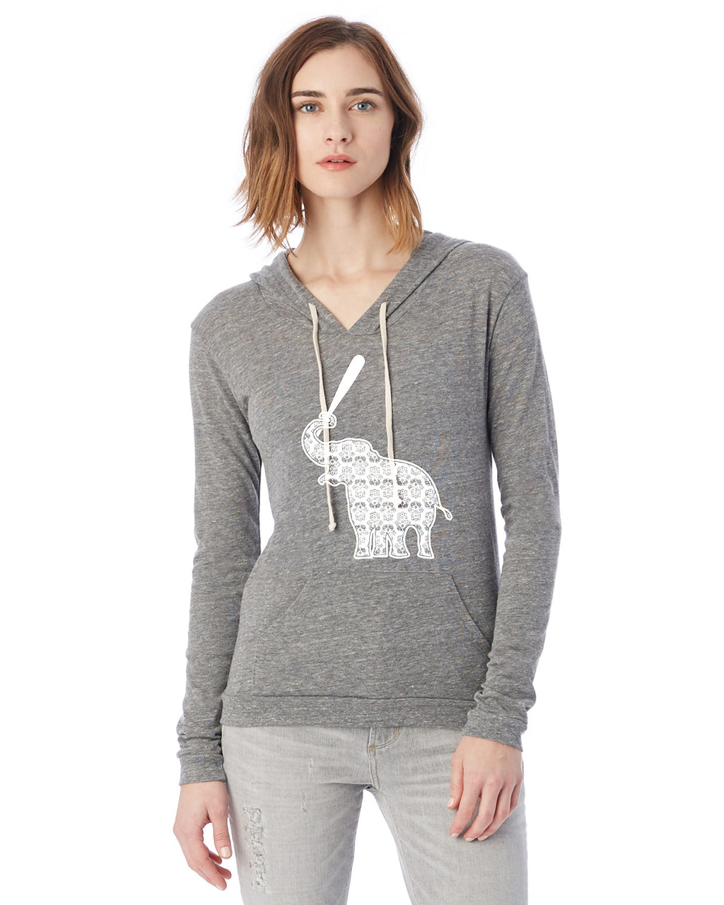 Elephant with Softball Bat Softball Eco Jersey Pullover Hoodie Animal Sports Collection