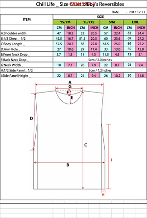 BOYS GAME JERSEY REVERSIBLE SIZE CHART